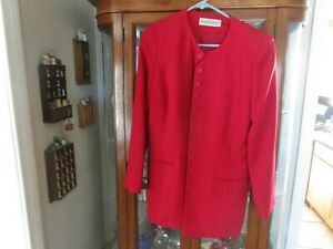 amanda smith red button down womans coat size 12