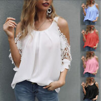 Women Summer Off-The-Shoulder Short Sleeve Lace Solid  T-Shirt Casual Loose Tops