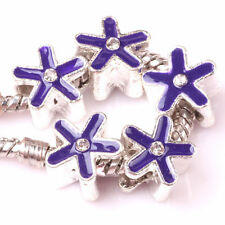 Tibetan Silver Purple Star Flower European Charm Bead. 5mm Core. Perfect Gift