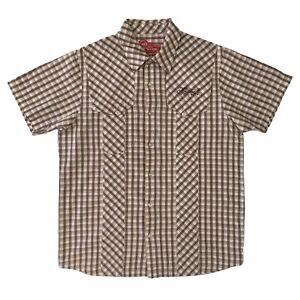 ANIMAL Mens Brown Check Casual Short Sleeve Surfer Shirt Size L
