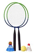 Kinder Badminton Set inkl. 2 Federbälle und 1 Softball | Federball Freizeit