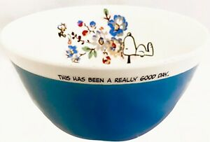 Cath Kidston Snoopy Peanuts Blue Cereal Bowl Really Good Day Breakfast Floral