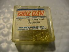 100 Eagle Claw 202  Size 8 Aberdeen Gold SIZE 8 Gold Hooks  NEW