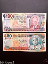 Barbados 50 and 100 Dollar Old Design Banknotes VF #11
