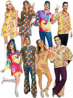 Mens Ladies 60s 70s Costume Fancy Dress Hippy  Summer of Love Couples Hippie