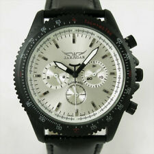 6 Hands Luxury Automatic Mechanical Black Leather Mens Multi Function Watch New