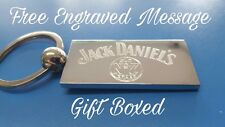 Personalised Chrome JACK DANIELS Keyring In Gift box with your message ANY TEXT