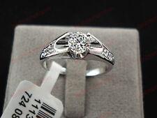 18K White gold 0.5 ct Round cut Diamond Mounting Ring FREE PP