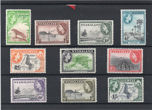 Nyasaland QE2 1953-54 P12 basic set to 1/- sg 173-182 H.Mint