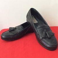 Johnston & Murphy Black Leather Tassle Loafers Slip On Shoes Mens Size 9M. (Bx1)