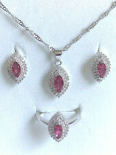 Rhodium Plated Created Ruby Zirconia Necklace Earrings Rings Women's Jewelry Set