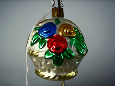 Vintage Flower Basket Christmas Ornament made in Europe