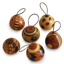 "Four Artisan Hand Carved Gourd Modern Mix Hanging Ornaments Peru Fair Trade 3.5"""