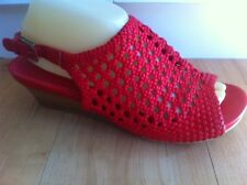 Ladies Red BLUE ILLUSION Sandals Size AUS 10 EU 41 Wedges Sling Back Heels Woven