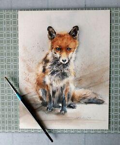 Original, Not A Print, watercolour painting, signed by artist. A Fox. Wall art.