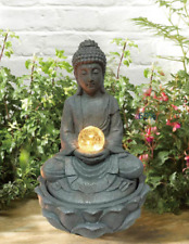 Gardenwize Garden & Outdoor Solar Buddha Water Feature Fountain with Light Ball