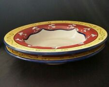 2 PIER 1 VALLARTA RIMMED SOUP PASTA BOWLS RED YELLOW BLUE FLORAL