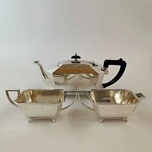 Tea Set Art Deco Teapot Milk Jug Sugar Bowl James Dixon & Sons Silver Plated