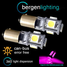 2X BAX9s H6W 434 CANBUS ERROR FREE PINK 5 LED SIDELIGHT BULBS HID SL101501