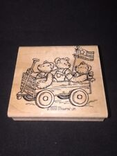 Stampin' Up! Patriotic Three Teddy Bears Wagon 4th Wood Mounted Rubber Stamp