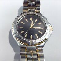 Vintage PULSAR Men's Watch 560363 Gold Silver Black Face w Date Water Resistant