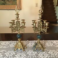 """Horchow Candelabras with 5 Tier-Arms & Marble Centers - 17"""" Ornate Candle Holder"""