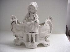 ANTIQUE GERMAN? BISQUE FARM GIRL PLANTER WITH ROOSTERS, WITH MOLD NUMBER, EXC.