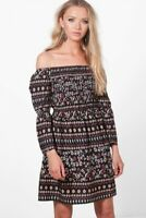 Womens black floral paisley print off the shoulder dress in sizes 8 10 and 12