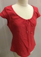 Principles Ladies Pink Red Top Cap Sleeve Linen Blend Sz 12 Drawstring Tie Neck