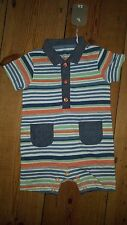 NEW.TU 0-3mth stripe,short sleeve,short leg,chambray trim all in one with collar