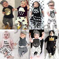 2pcs Newborn Infant Baby Boys Girls Kids Clothes T-shirt Tops+Pants Outfits Sets