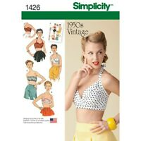 Simplicity Sewing Pattern 1426 Womens Vintage Halter Neck Bra Tops 14-22