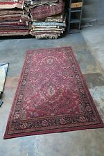 ANTIQUE ESTATE 1930's  WILTON WOOL RUG 3'10 X 7'6 TRADITIONAL  DESIGN RED