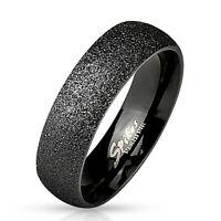 Ring sandgestrahlt Schwarz Edelstahl Damenring Herrenring Verlobung Hochzeit Ehe