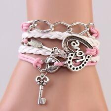 Wickel Bettelarmband Steckschloss Feil Charms Infinity Armbänder für damen