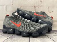 Nike Air Vapormax Flyknit 3 Grey Track Red Run Shoes CT1270-001 Men's Size 8.5