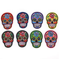 8Pcs iron on patches for clothes sew-on embroidered patch applique rose skull EB