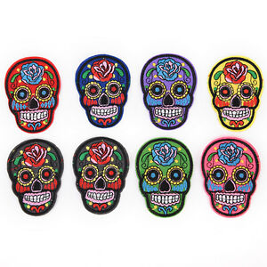 8Pcs iron on patches for clothes sew-on embroidered patch applique rose skull Fx