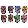 8Pcs iron on patches for clothes sew-on embroidered patch applique rose skull''