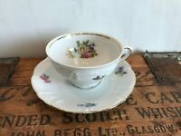 Winterling Fine China Flower Garden Gold Trim Bavaria Germany Cup Mug Saucer Set