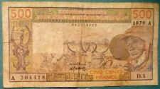 WEST AFRICAN STATES - IVORY COAST 500 FRANCS ,  LETTER A, P 105 a, 1979, RED #