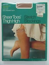 Ladies Vintage Thigh High Stockings Pantihose Sheer Toe Seamless Nos Nylons