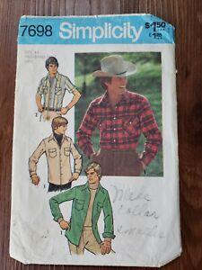 Vintage Simplicity Pattern #7698 MEN'S WESTERN SHIRT Size 44 70's Big Collar