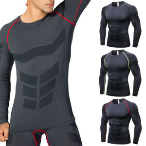 Men Tight Training Sports Tops Quick Dry Running Fitness Long Sleeve T-Shirt