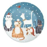 NWT Pier 1 ~ HOLIDAY CATS Christmas Winter Salad or Dessert Plate Whimsical