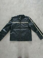 Mens Black Faux Leather Jacket - Size Medium