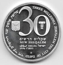 ISRAEL 1996 - JERUSALEM 3000 YEARS - THREE MILLENIA - 30 SHEKELS SILVER 999 COIN
