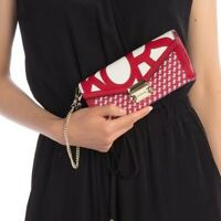 NWT Michael Kors Whitney Large Graphic Logo Chain Wallet Red/White