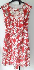 Laura Ashley Size 12 Red White Brown Flower Beaded Sleeveless Shift Dress !