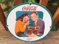 "Vintage Coca Cola Heavy Porcelain Advertising Sign 12"" Cola Soda Sign"